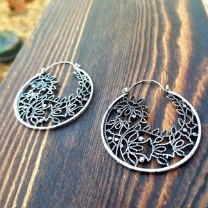 BOSS Vintage Silver Flower Dangle Earrings